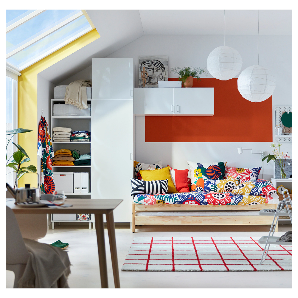 SIMESTED Rug, high pile, white, red IKEA in 2020