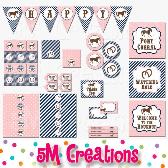 graphic regarding Printable Decorations known as PONY Birthday Celebration Printable Decorations Package deal - Horse