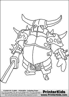 Clash Of Clans P E K K A 1 Coloring Page Clash Of Clans