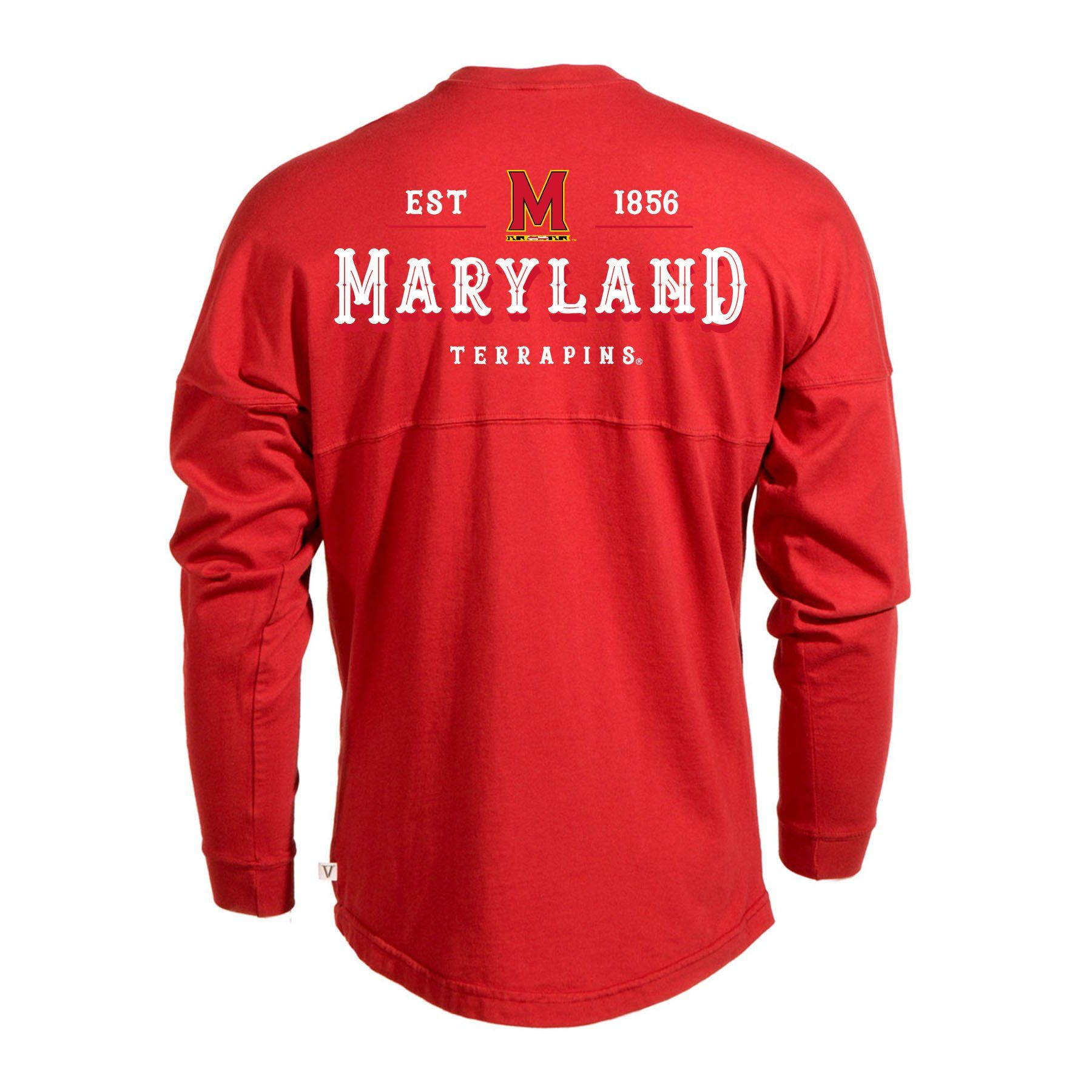 Official NCAA University of Maryland Terrapins UMD Testudo VICTORY SONG Women s  Long Sleeve Spirit Wear Jersey e1adc03ec8