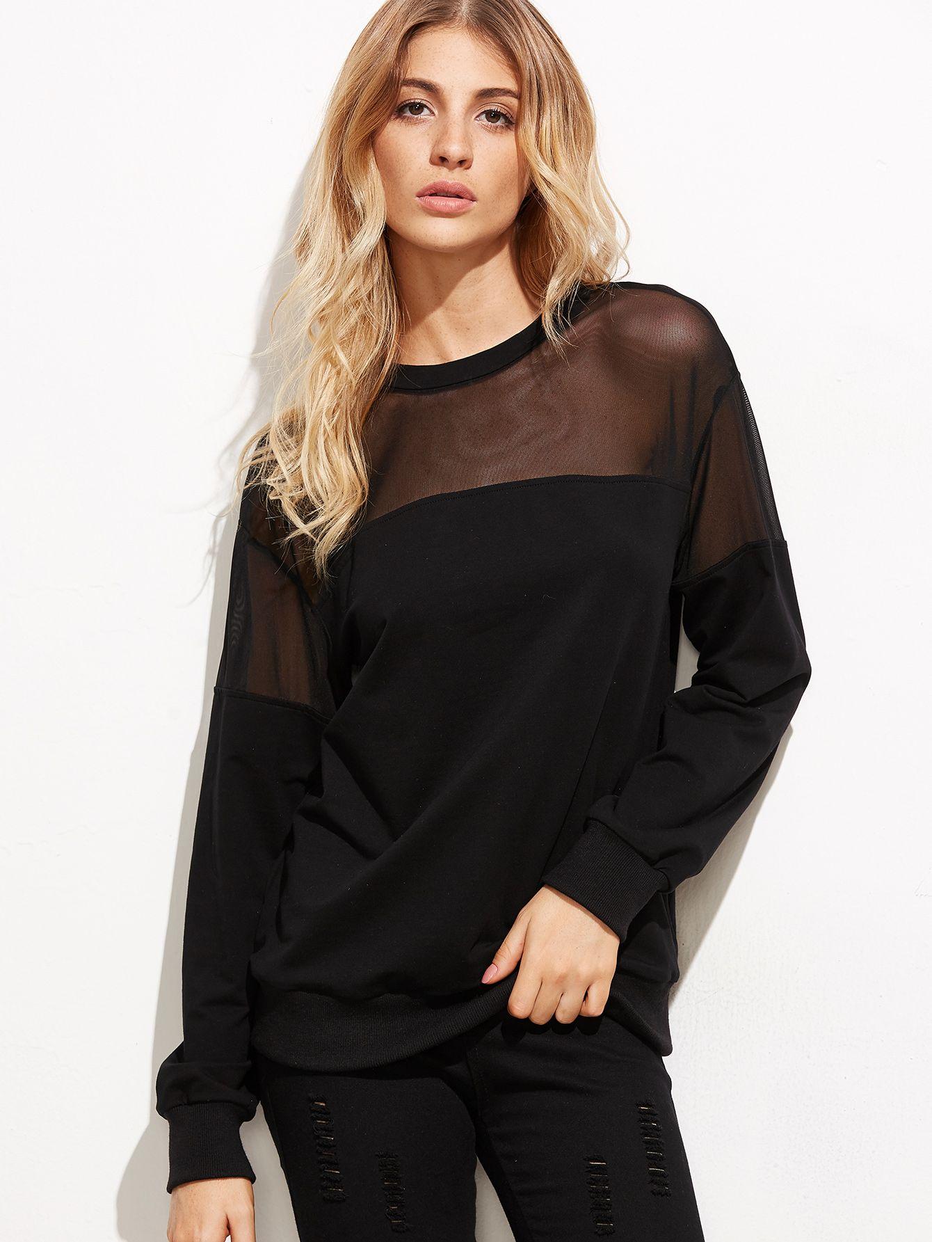 618c0b7d96 Shop Black Mesh Insert Sweatshirt online. SheIn offers Black Mesh Insert  Sweatshirt & more to fit your fashionable needs.
