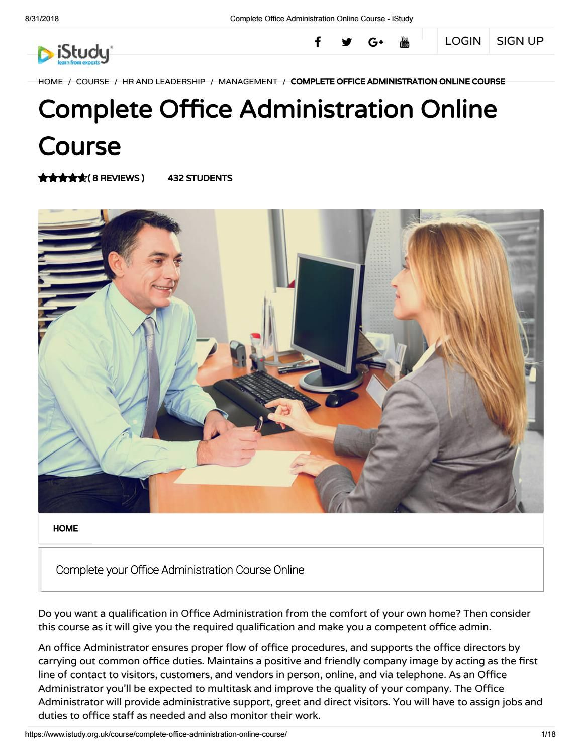 Complete Office Administration Online Course istudy
