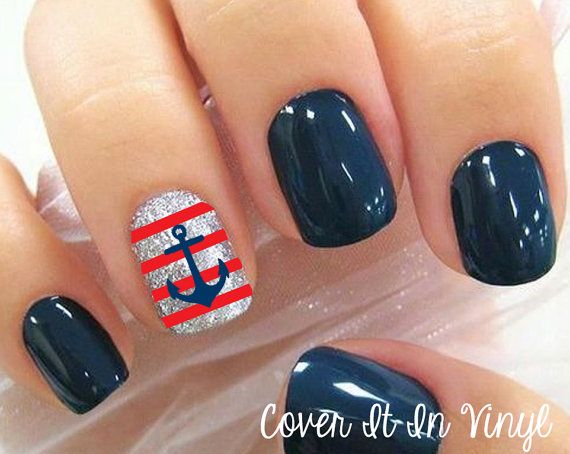 $4.00 Anchor and Strips Nail Decals  Set of 80 by CoverItInVinyl on Etsy