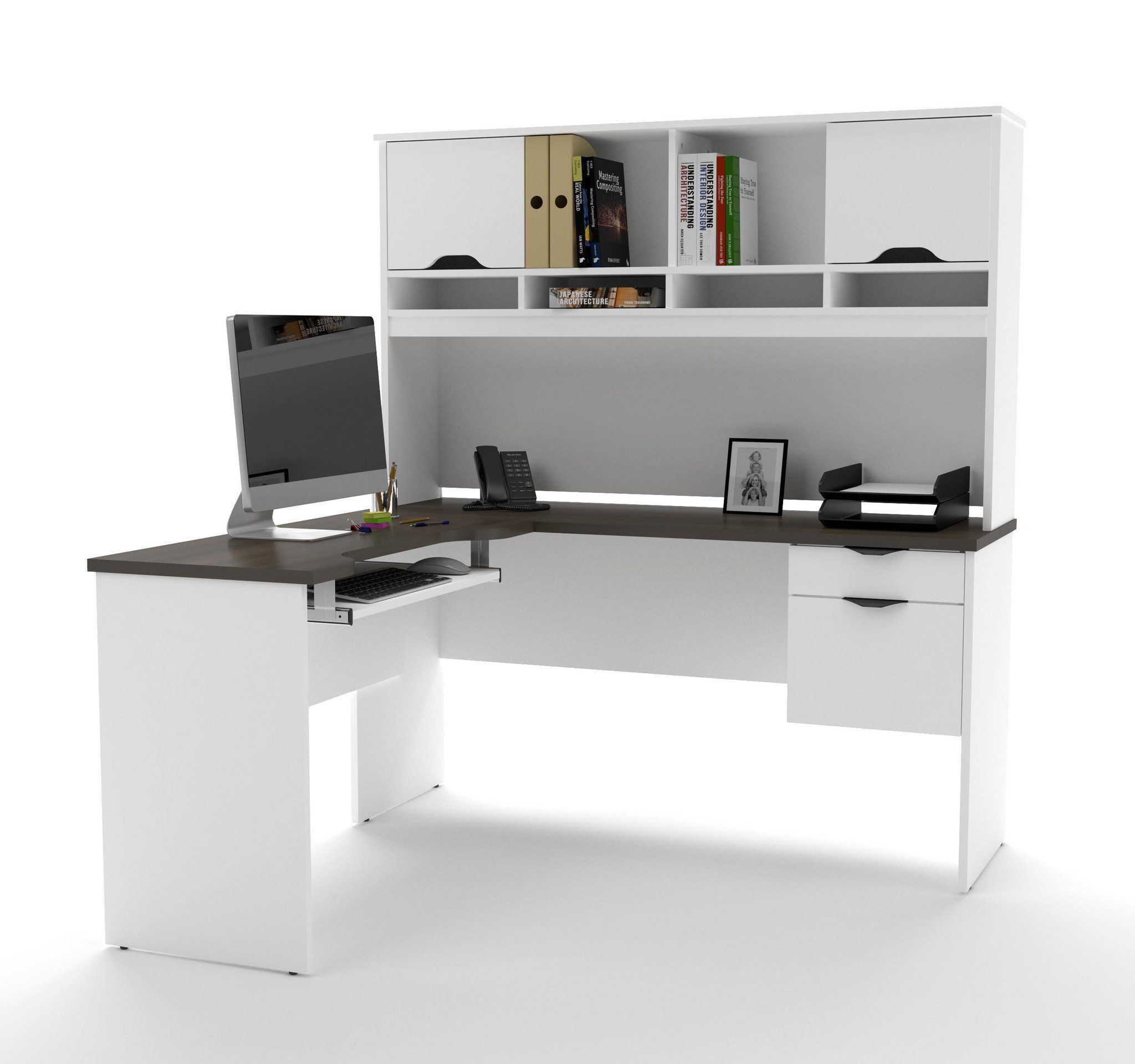 Modern white u antigua lshaped desk with hutch in products