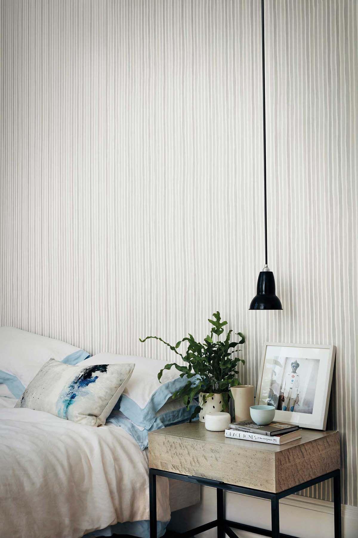Croquet Stripe Wallpaper Полосатый обои, Интерьеры