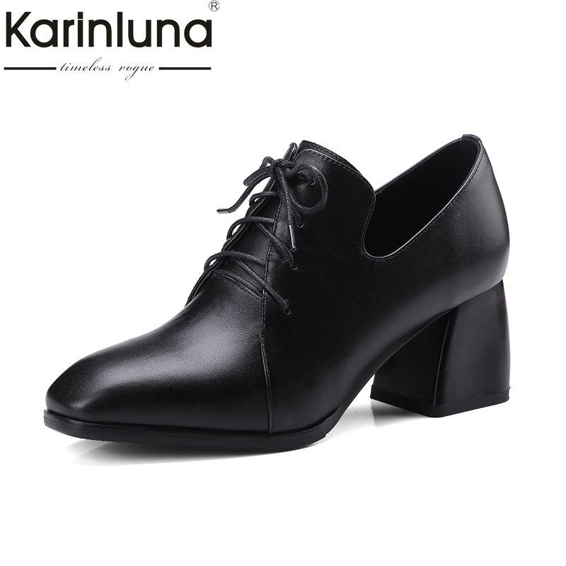 KARINLUNA Genuine Leather Large Size 34-42 Women Pumps Hoof Heels Square Toe  Office Ladies b7b2db77f906