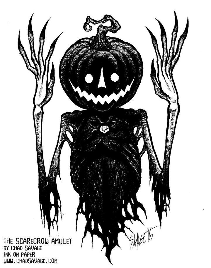 The Scarecrow Amulet Original Halloween Drawing Halloween