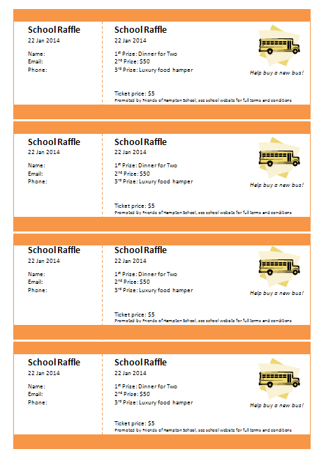 microsoft publisher raffle ticket template