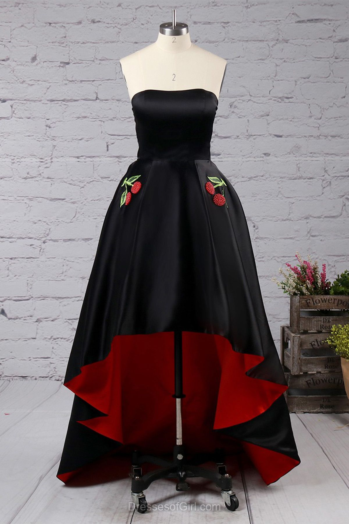 Black satin high low aline prom dress homecoming dress from