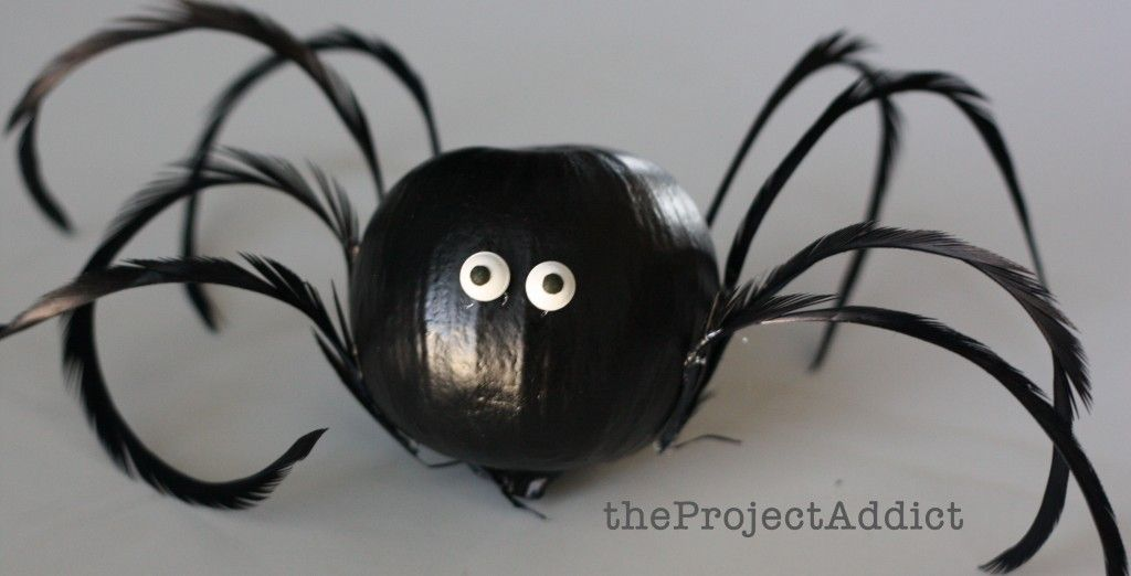 Halloween Decorating Idea Mini Pumpkin Spiders theprojectaddict - spiders for halloween decorations