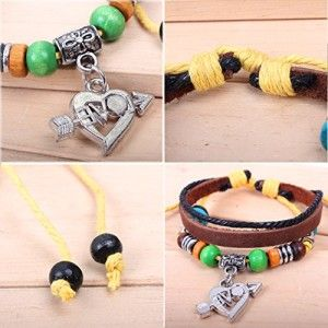 Real Spark Love Gift The Arrow Of Love Pendant Leather Wrap Bracelet Beads Triple Layer
