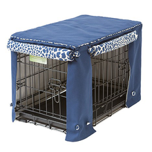 Indigo Blue Twill with Leopard Print Dog Crate Cover