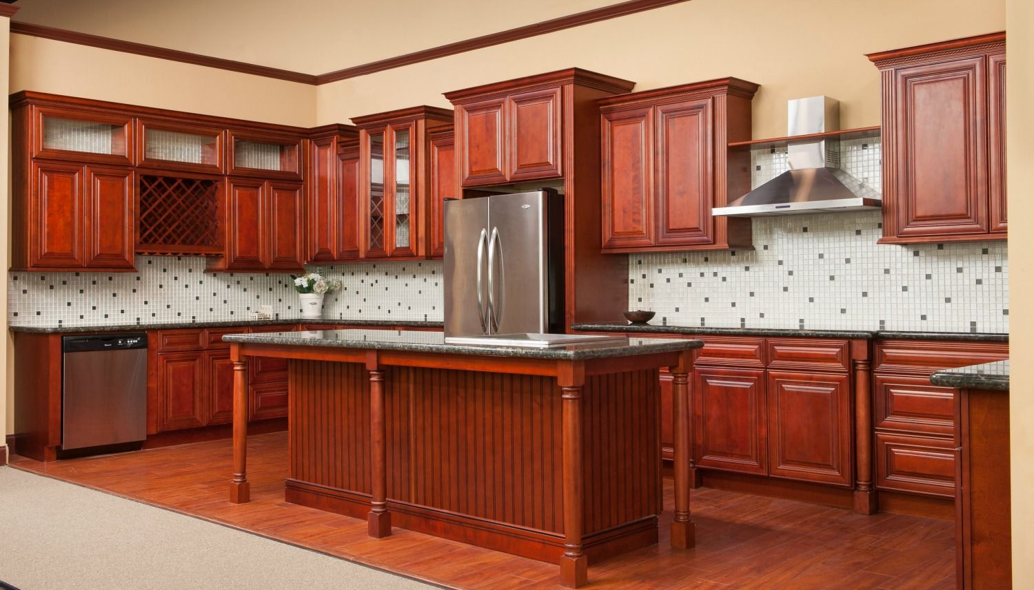 Classic espresso ready to assemble kitchen cabinets rta ship - Cambridge Cherry Glaze Cambridge Cherry Glaze Cafe Mocha Glaze Rta Kitchen Cabinets