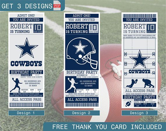 Dallas cowboys birthday invitation printable ticket party birthday dallas cowboys birthday invitation printable ticket party filmwisefo