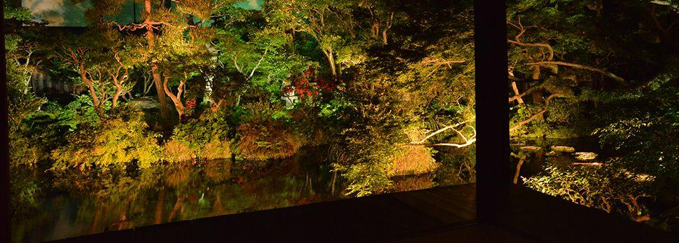 湧水庭園 四明荘ライトアップ