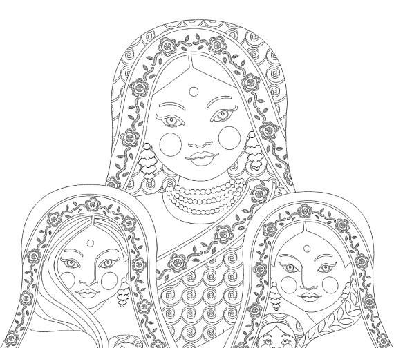 Babushka by Josterland | Coloring pages, Matryoshka doll, Matryoshka | 504x570