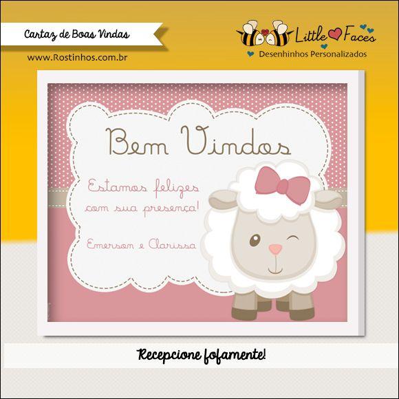 Boas Vindas Chá De Bebê Digital Ovelhinha Art Baby Shower Baby