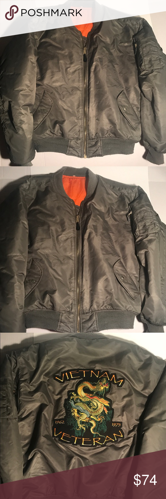 Ma 1 Rothco Bomber Flight Jacket W Vietnam Patch This Jacket Is Excellent Condition No Flaw Barely Worn The Back Of The Jacket Flight Jacket Jackets Rothco [ 1740 x 580 Pixel ]