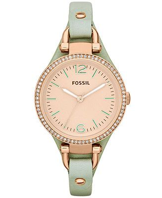 Fossil Women's Georgia Mint Leather Strap Watch 32mm ES3467 - Fossil - Jewelry & Watches - Macy's