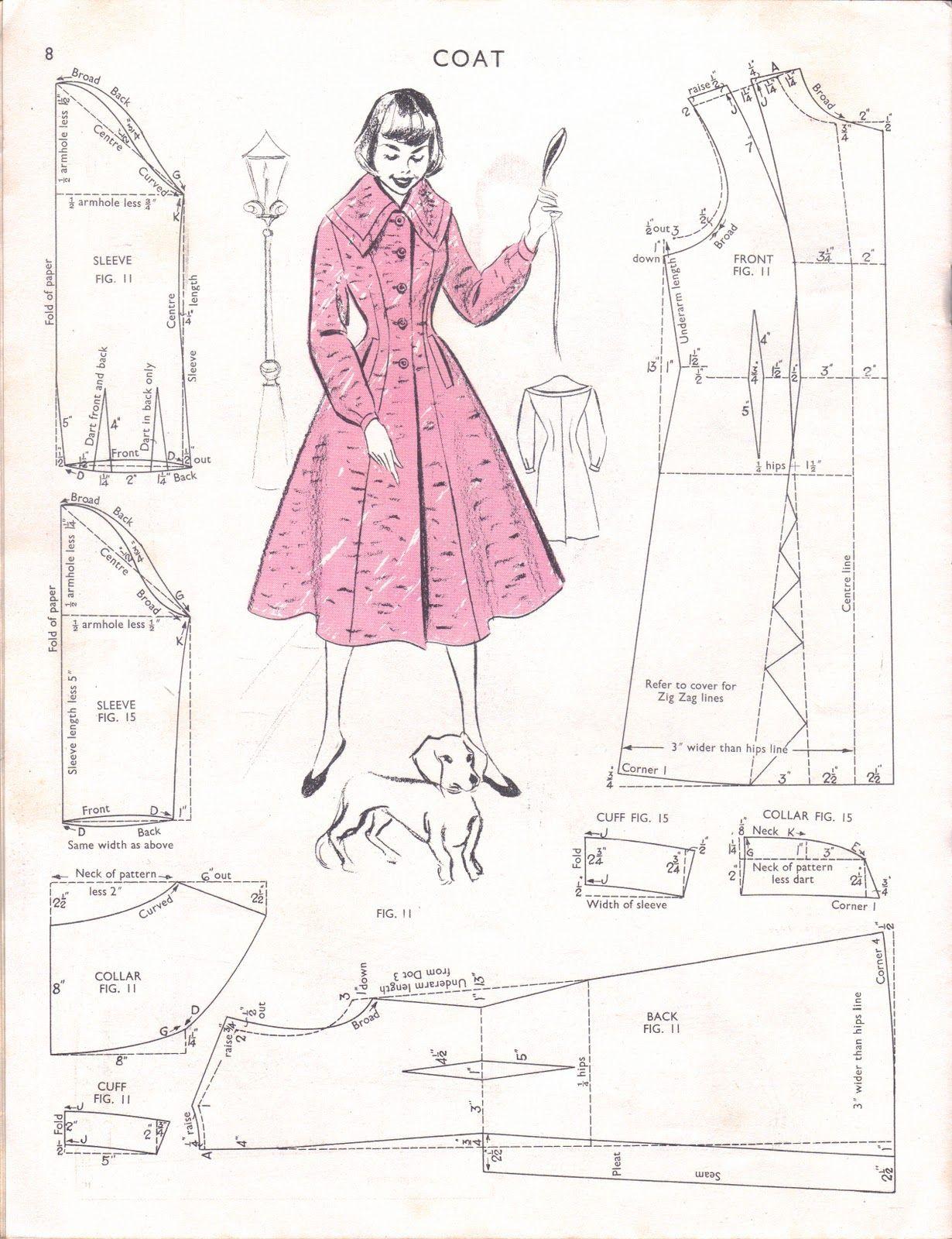 5c273f34eaa477 Free Vintage Coat Sewing Pattern   szycie   Coat pattern sewing ...