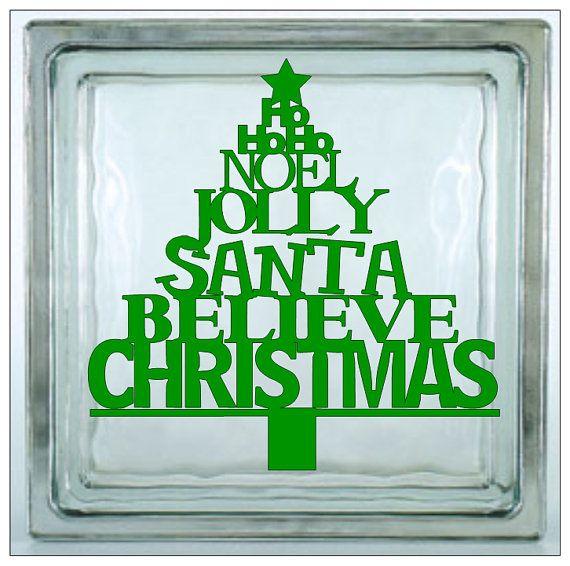 Christmas Vinyl Decals For Glass Blocks.Glass Block Vinyl Decal Word Santa Christmas Believe By
