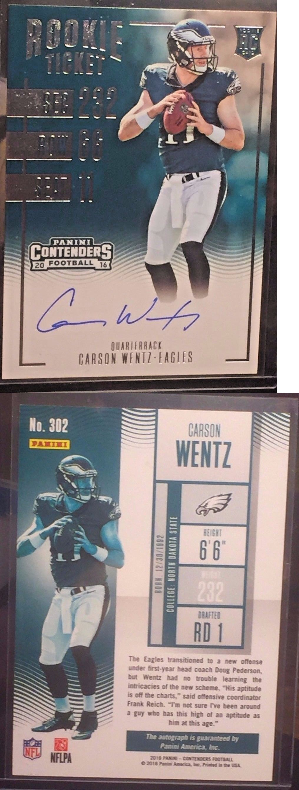 Football Cards 215: 2016 Panini Contenders Rookie Ticket #302 Carson Wentz Rc Auto -> BUY IT NOW ONLY: $250 on eBay!