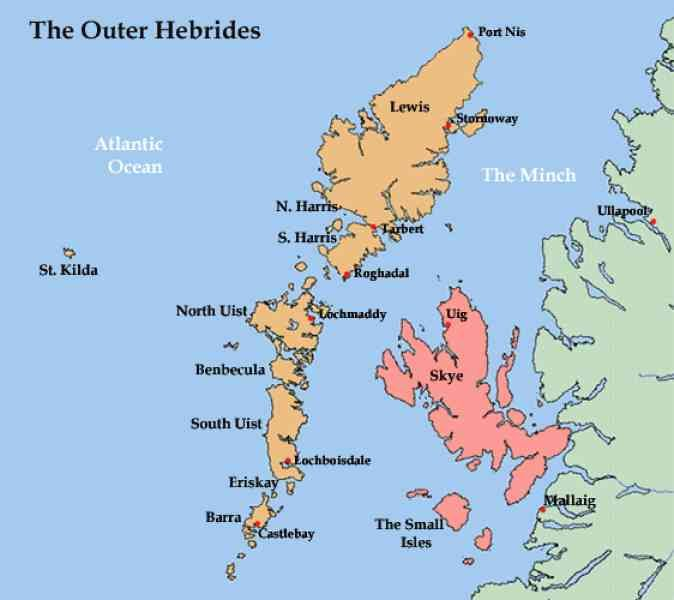 Outer Hebrides Map awesome Map Of Outer Hebrides | Holidaymapq | West coast scotland