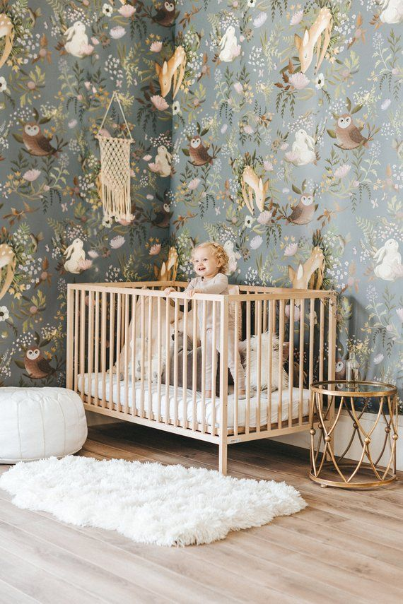 OH Deer Wallpaper – Forest Bunny Scene Mural | Floral Wallpaper