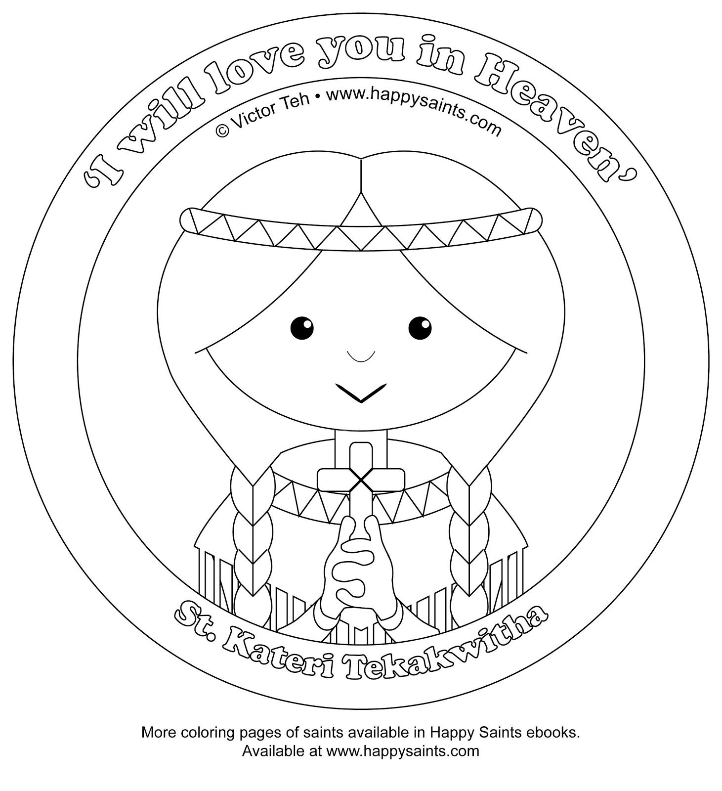 Catholic Alphabet Coloring Pages : Happy saints coloring pages of st pedro and kateri