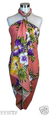 5732d450ec263 Jumbo Plus Size Tropical Cruise Beach Luau Sarong Wrap Dress Pareo Light  Peach