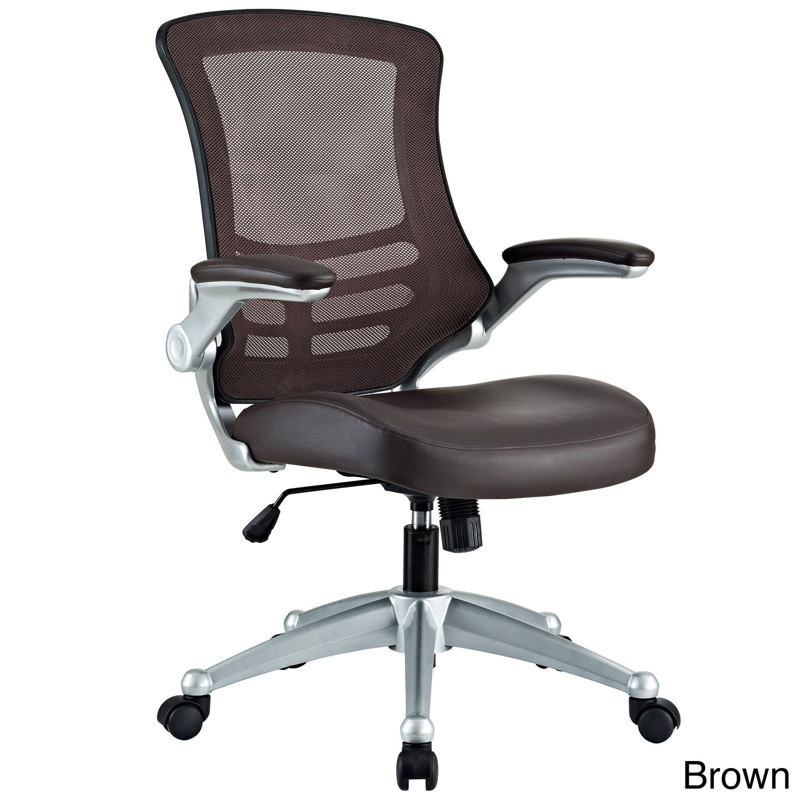 Modway Attainment Black Mesh Back And Leatherette Seat Office Chair With Brown