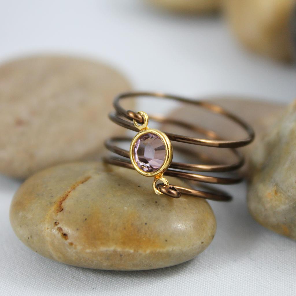 Wire Wrapped Pink Swarovski Crystal Ring | Draht schmuck, Löten und ...
