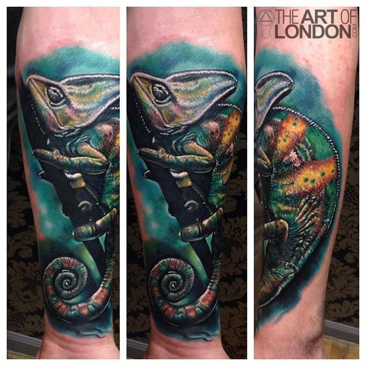 Tattoo Flash Chameleon Lizard: London Reese - Chameleon Color Realism Tattoo