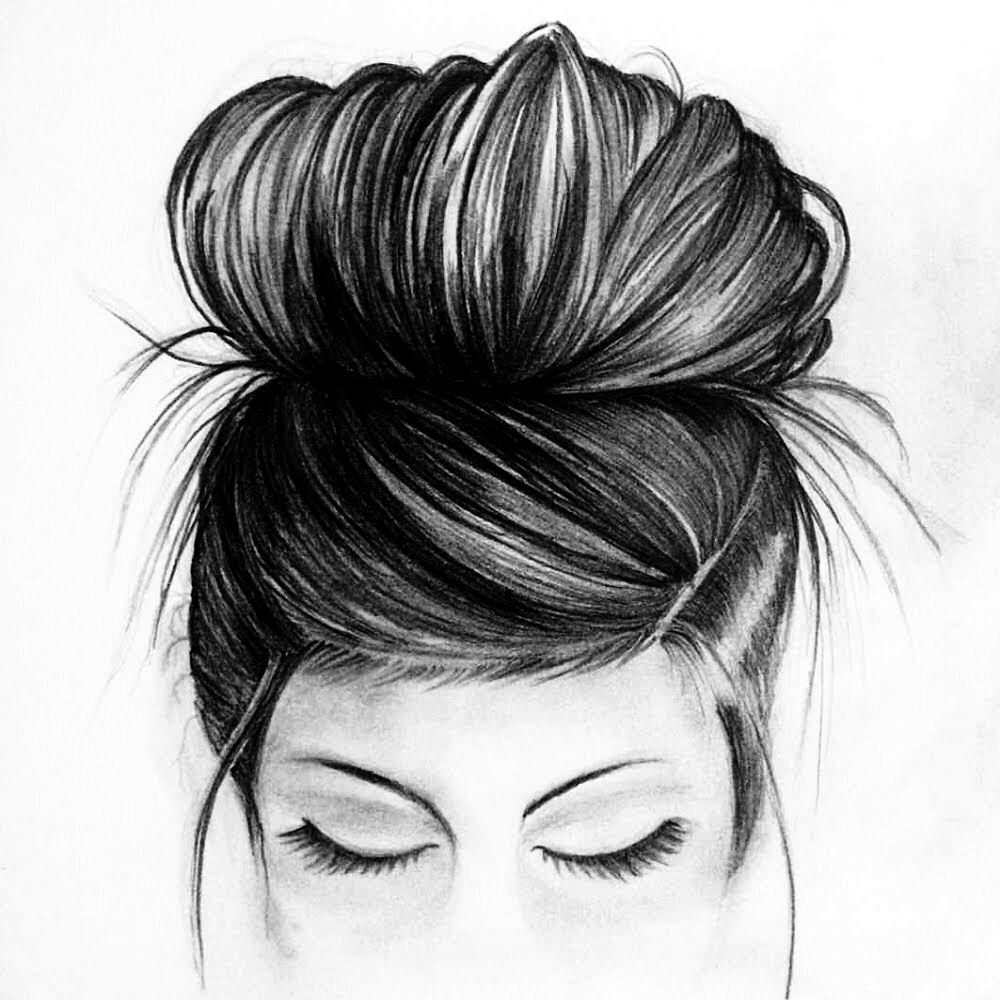 Double Bun Hair So Cute Sketches Art Drawings Sketches Drawings