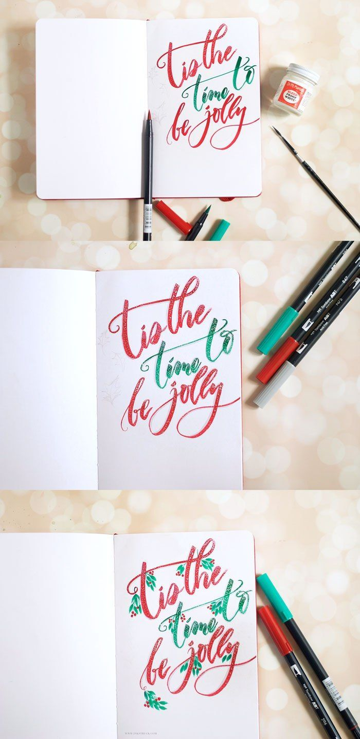 Holiday hand lettering tutorial tombow brush pen tombow and holiday hand lettering tutorial baditri Images