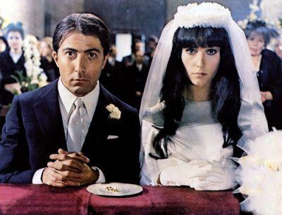 "Dustin Hoffman as Alfredo Sbisà & Stefania Sandrelli as Maria Rosa at their wedding in the movie ""Alfredo, Alfredo"" (1972)"