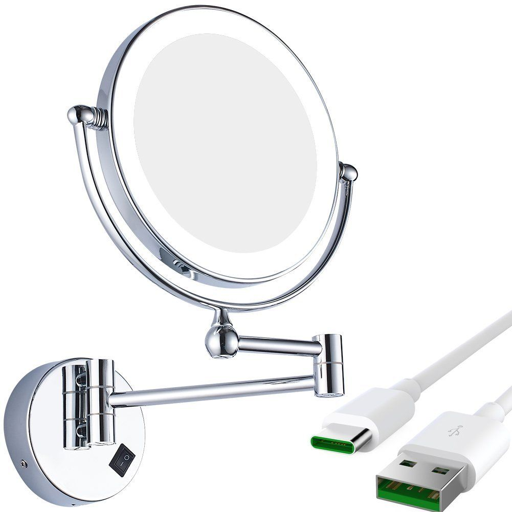 Gurun 8 Inch Wall Mounted Lighted Magnifying Mirror Two Sided Swivel With 7x Magnification Cordless Rechargeable 1 Wall Mounted Light Mirror Magnifying Mirror
