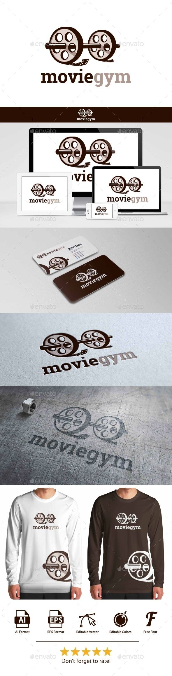 Movie Gym  - Logo Design Template Vector #logotype Download it here: http://graphicriver.net/item/movie-gym-logo/9796622?s_rank=1503?ref=nexion