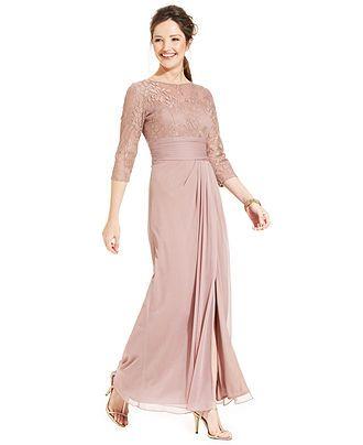d2e63e0596416 Patra Illusion Metallic Lace Gown - Macy s