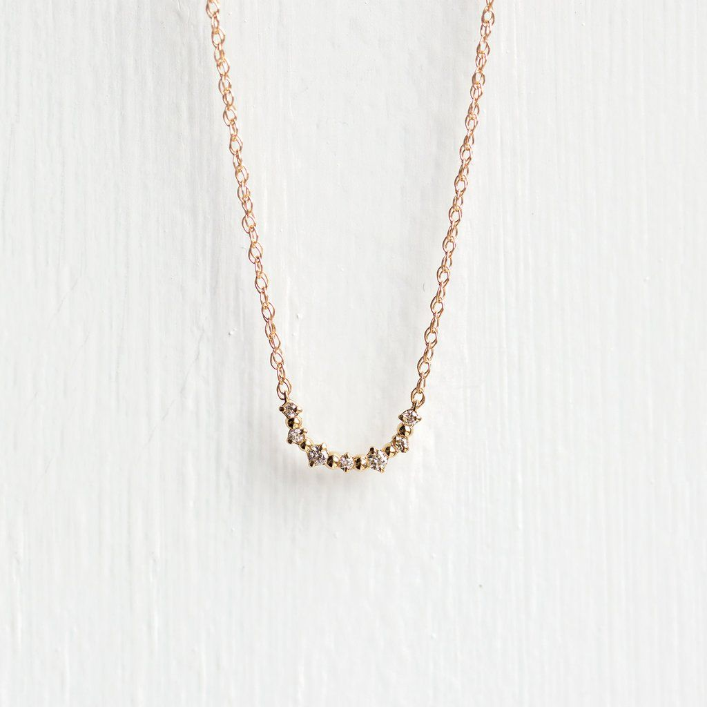 Petite Diamond Sweep Necklace Diamond Gold Set Necklace Chain Lengths