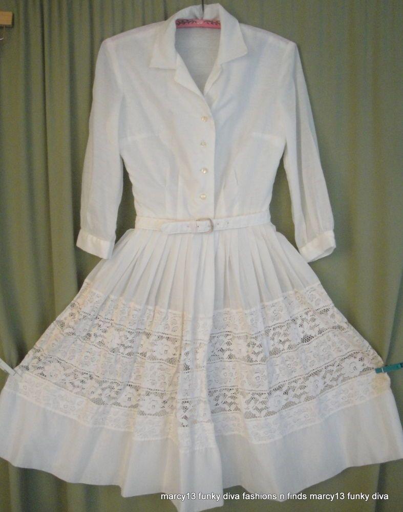 Lace dress 50s  Cute Vintage us Cream Color Cotton Blend Full Skirt w Lace Dress