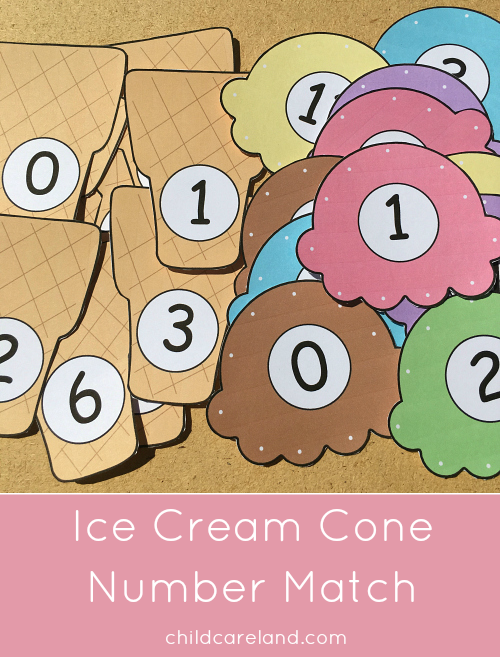 Ice cream cone number match for number recognition and