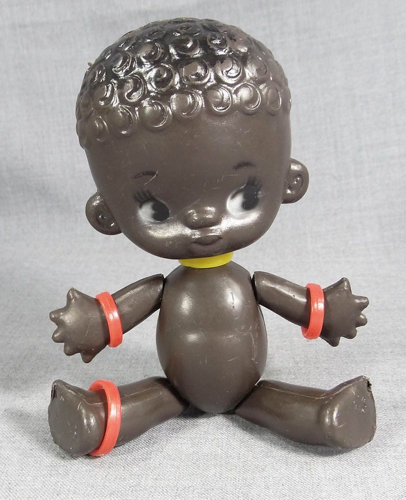 VTG BLACK AFRICAN AMERICANA BOY CHILD BABY DOLL RUSSIAN VINYL TOY JOINTED FIGURE