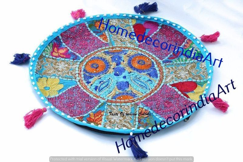 "Floor cushion - bohemian decorative cushion cover, ""Masala"" sari patchwork cushion, meditation cushion, large floor pillow Indian hippie 18"""