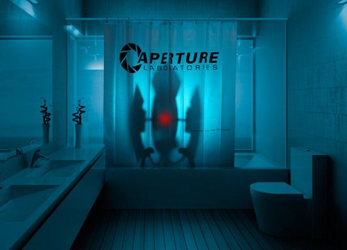 Shower Curtain From Thinkgeek Gaming Aperture Science Portal 2