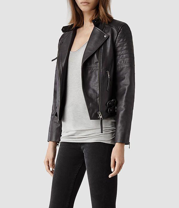 eebc2df63fe2a Womens Dorsey Leather Biker Jacket (Slate)