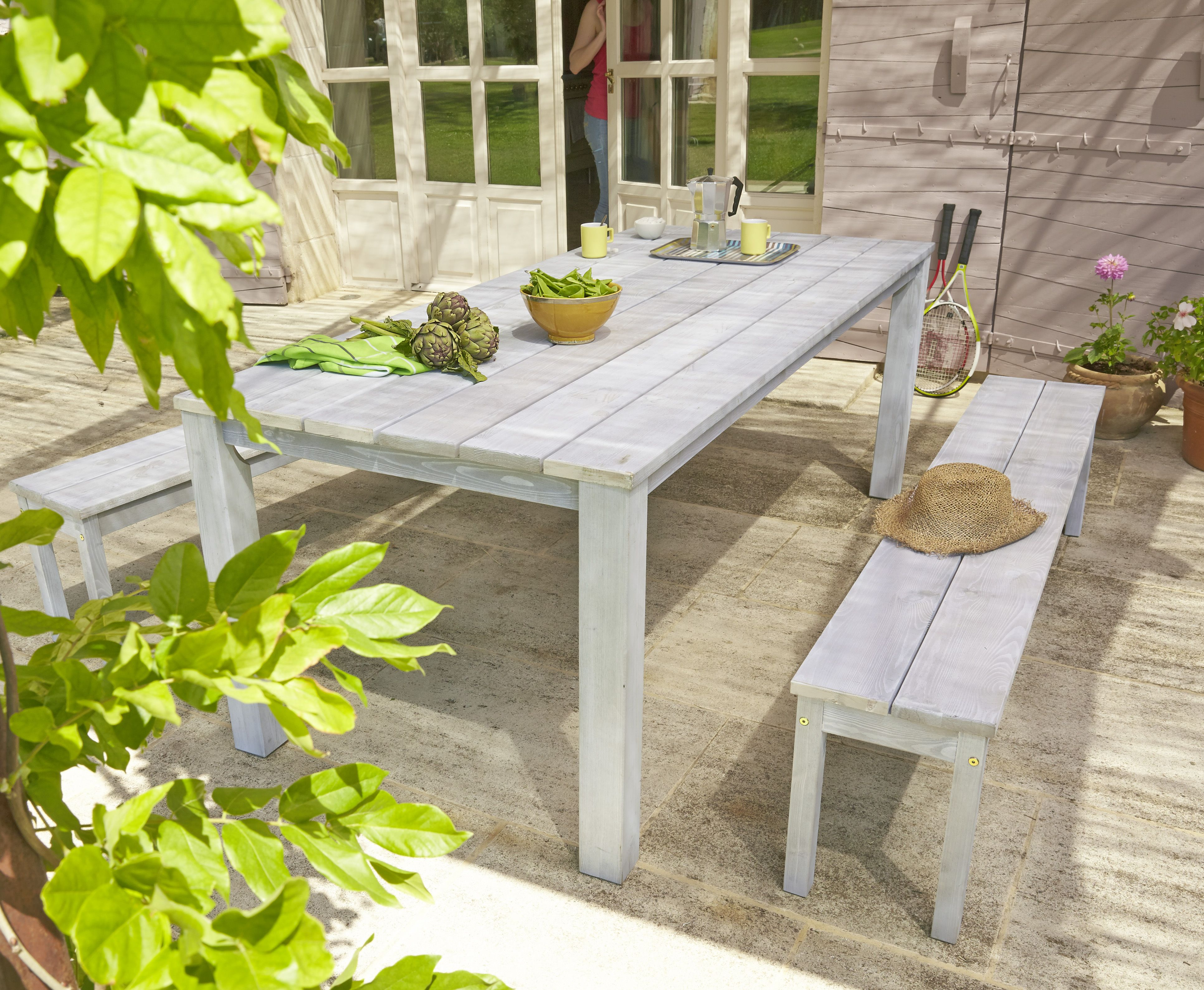 Le SET Ferme en pin sylvestre couleur gris cérusé (bois FSC ...
