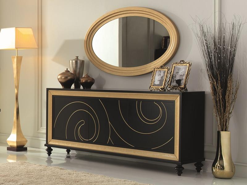 Http Fr Luxurylofteurope Com Buffet 3 Portes Laque Noir Et Or Avec Moulures En Finition Decoracao Com Espelhos Decoracao Moderna Decoracao De Casa