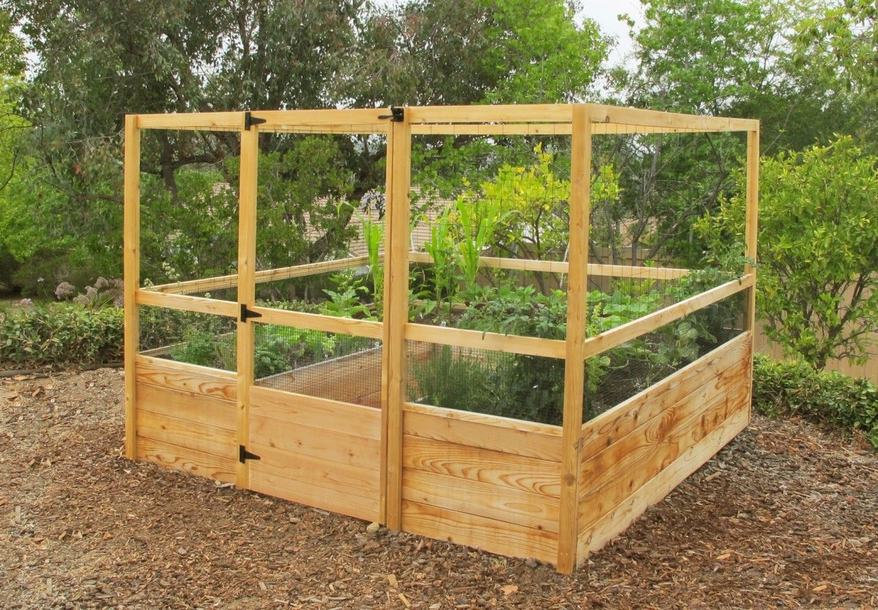 8u0027X8u0027 Raised Bed Gated Garden Kit Deer Proof