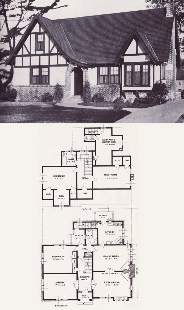 The Stratford English Revival Tudor style 1923 Standard Homes pany Vintage House Plans of the 1920s